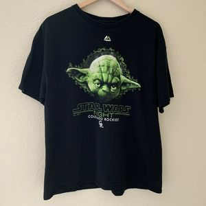 Star Wars Night Colorado Rockies Yoda T-Shirt Tee